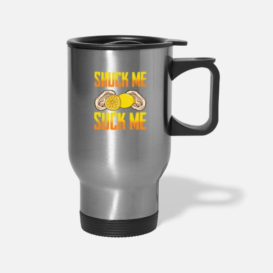 Me Mugs & Drinkware - Funny Oyster Eating Gift graphic - Travel Mug silver