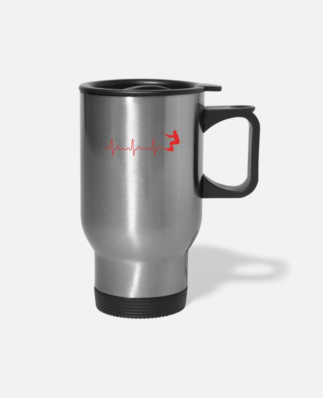 Heart Mugs & Cups - heart rate WAKEBOARD - Travel Mug silver