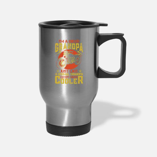 Motor Mugs & Drinkware - Coolest Biker Grandpa - Travel Mug silver