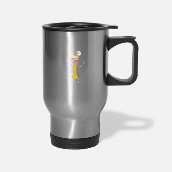 Music Mugs & Drinkware - Funny Mouth Oktoberfest Celebration Gift Present - Travel Mug silver
