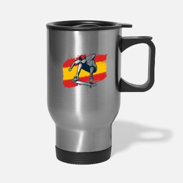 Skateboard Spain Flag Skateboarding Sport Country Gift - Travel Mug