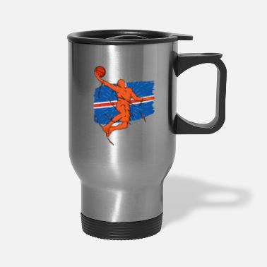 Country Iceland Basketball Player Silhouette Sporty Gift - Travel Mug