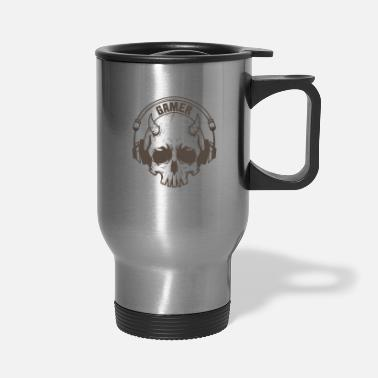 Pc Gamer Skull with horns and headset - Travel Mug