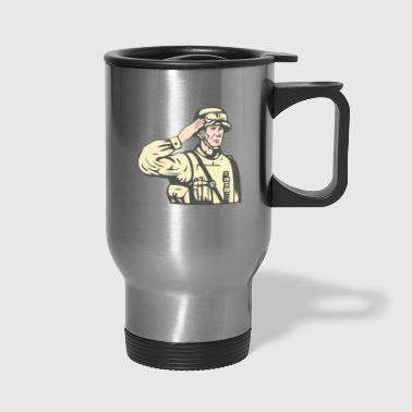 foreign soldiers salute the army - Travel Mug