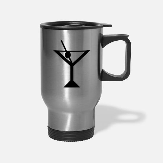 Glass Mugs & Drinkware - martini glass - Travel Mug silver