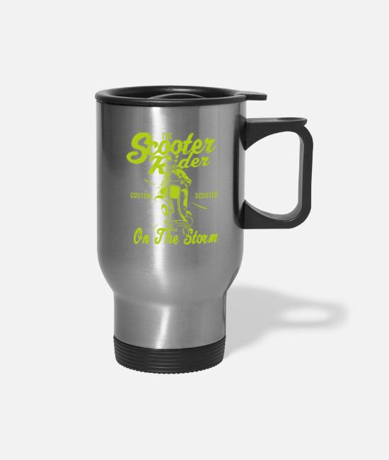 Pilot Mugs & Cups - The Scooter Rider - Travel Mug silver