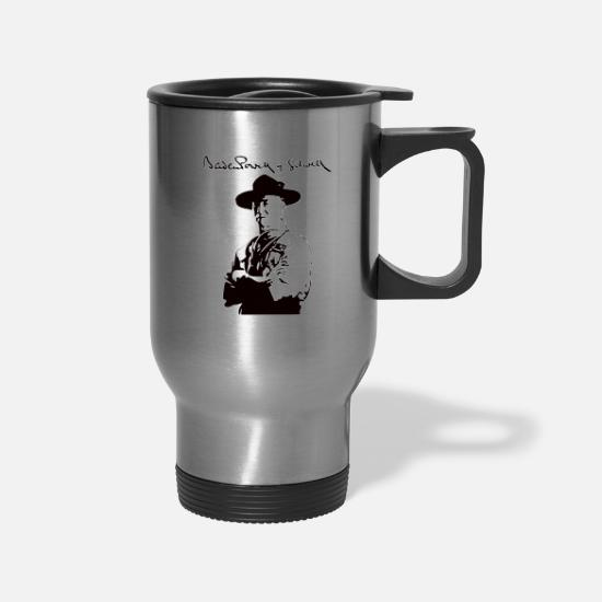 Scout Mugs & Drinkware - Baden Powell, Scout Pathfinder Gift - Travel Mug silver