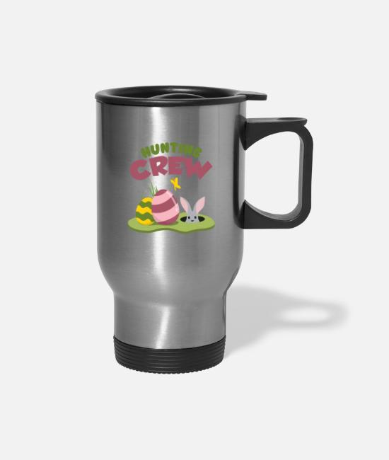 Easter Mugs & Cups - Easter Egg Hunting Crew Hare - Travel Mug silver