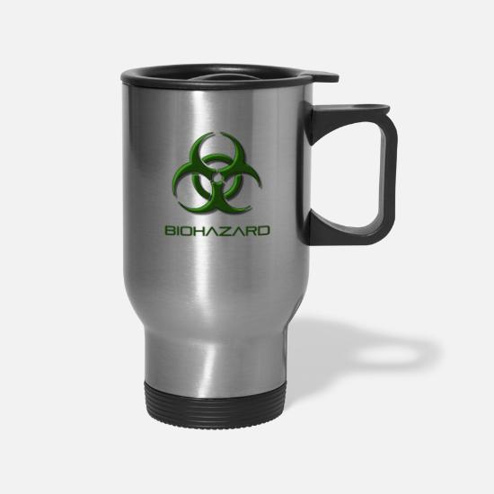 Waste Mugs & Drinkware - Green biohazard warning, toxic waste danger symbol - Travel Mug silver