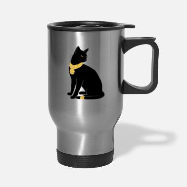 Jewelry BLACK CAT WITH GOLD JEWELRY - Travel Mug