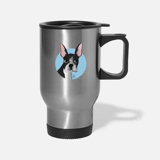Terrier Mugs & Drinkware - Boston Terrier - Travel Mug silver