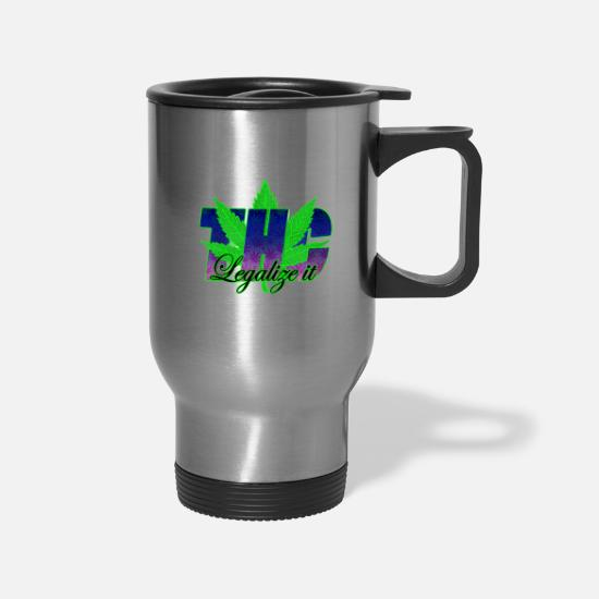 Hemp Mugs & Drinkware - THC Ganja Weed Hash Legalize it - Travel Mug silver