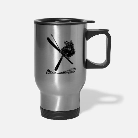 Winter Sports Mugs & Drinkware - Skiers on the ski slopes in a sporty and fast way - Travel Mug silver