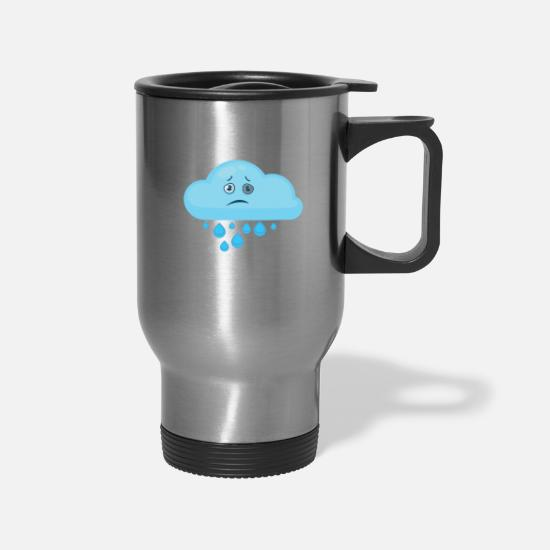 Cloud Mugs & Drinkware - RAINY CLOUD - Travel Mug silver