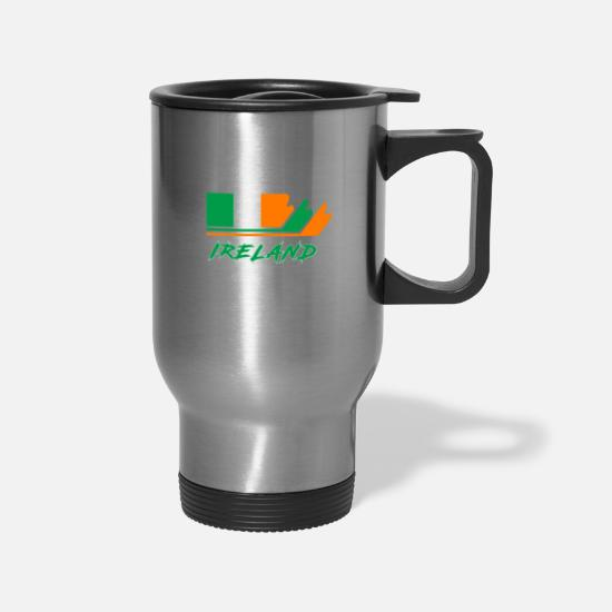 Belfast Mugs & Drinkware - Ireland Flag / Gift National Flag - Travel Mug silver