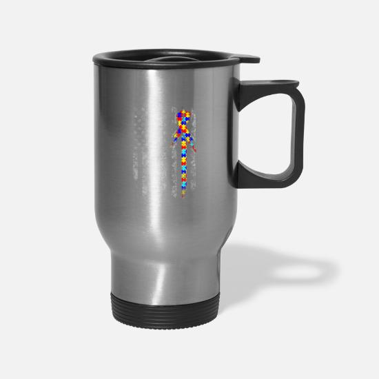 Awareness Mugs & Drinkware - Autism Awareness American Flag Tshirt For Men Wome - Travel Mug silver