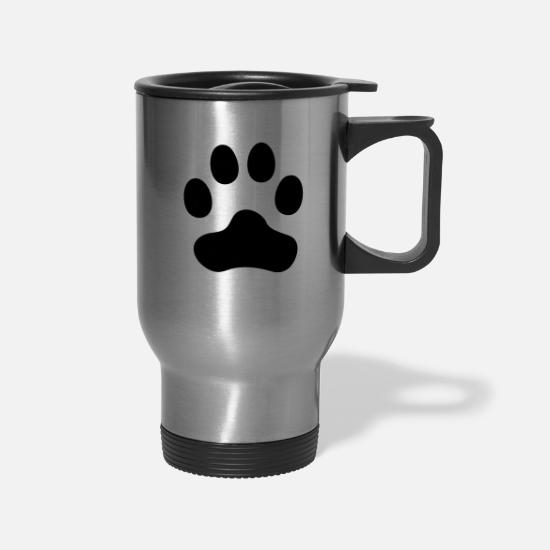 Foot Print Mugs & Drinkware - Cat Paw dog paw - Travel Mug silver