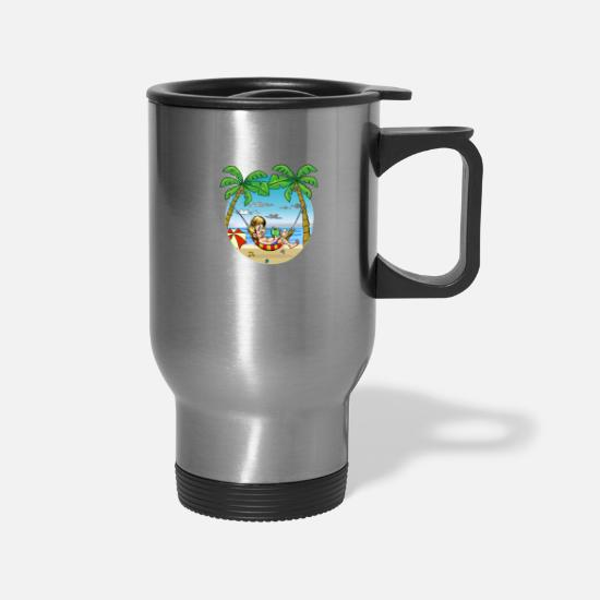 Gift Idea Mugs & Drinkware - Summer Vacation - Travel Mug silver