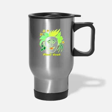 Green Text Plant Geek, Green Text - Travel Mug