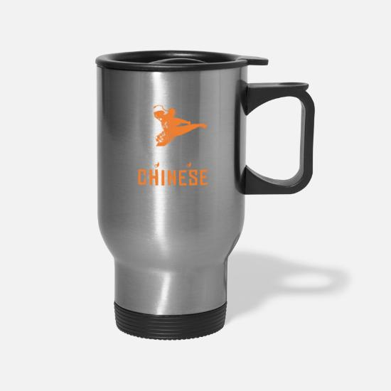 Martial Arts Mugs & Drinkware - My Ancestors were Chinese Shaolin Kungfu Gift Idea - Travel Mug silver