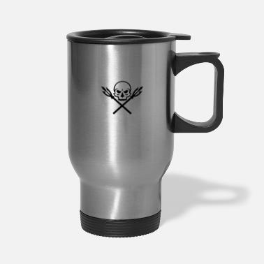 Spear Human Skull Crossed Fishing Spear Mascot - Travel Mug