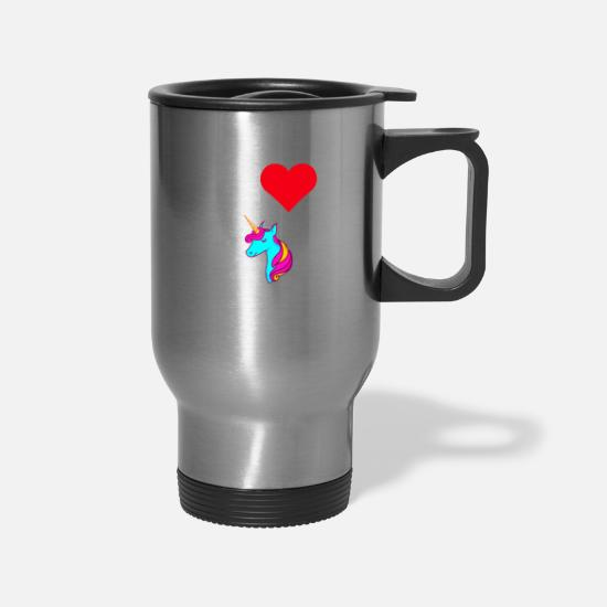 Eleven Mugs & Drinkware - I Love Unicorns Mythical Creature Gift Idea - Travel Mug silver