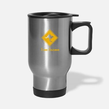 Ahead Kangaroo Road Sign Kangaroos - Travel Mug