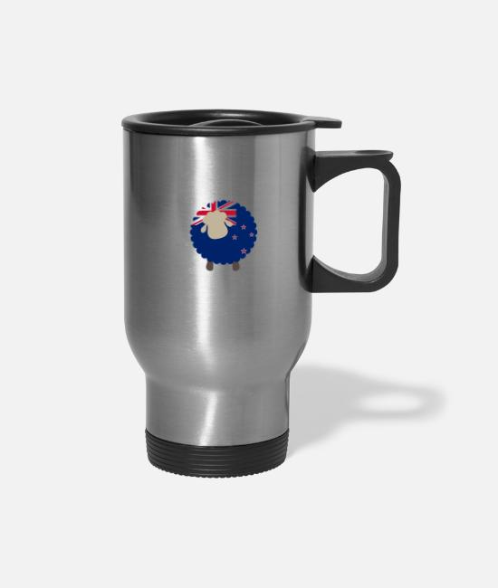 New Zealand Mugs & Cups - New Zealand Sheep Flag Of New Zealand Kiwi Gift - Travel Mug silver