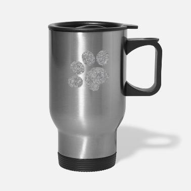Silver Cat Silver Glitter Paw Print - Cat Dog Toe Beans - Travel Mug