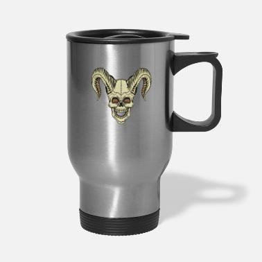 Horns Skull with horns horned skull - Travel Mug