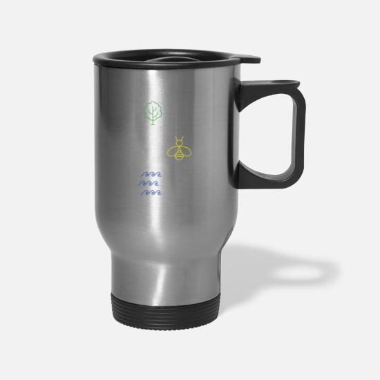 Save Mugs & Drinkware - Plant Some Trees - Save The Bees - Clean The Seas Nature - Travel Mug silver