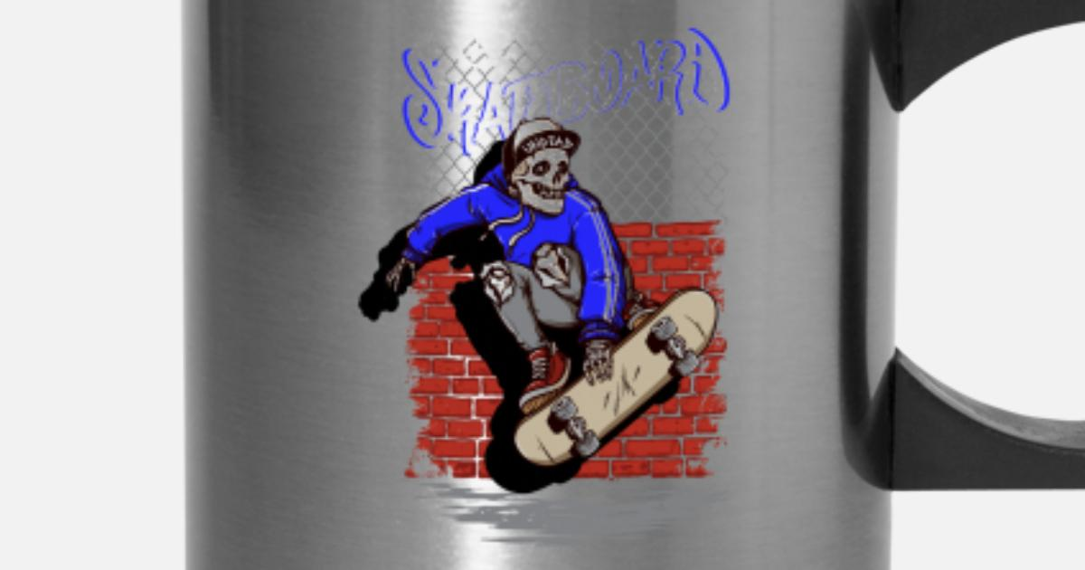 Kickflipping Skeleton Skull Skateboarding Travel Mug Spreadshirt