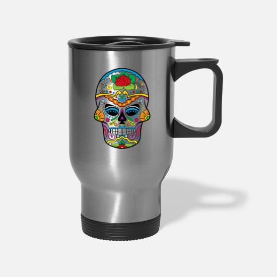 Skull Mugs & Drinkware - Sugar Skull - Travel Mug silver