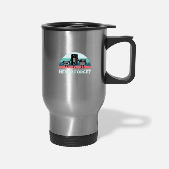 Birthday Mugs & Drinkware - Vhs cassette Floppy disk nerd geek retro gift - Travel Mug silver