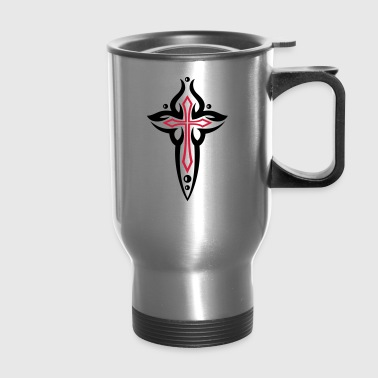 Cross, Crucifix, with pearls. - Travel Mug