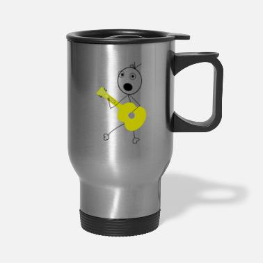 Stick Drawing with a Guitar playing Stick Figure - Travel Mug