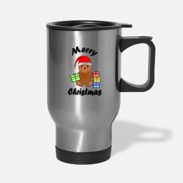 Outline Merry Christmas Cute Christmas Bear black - Travel Mug