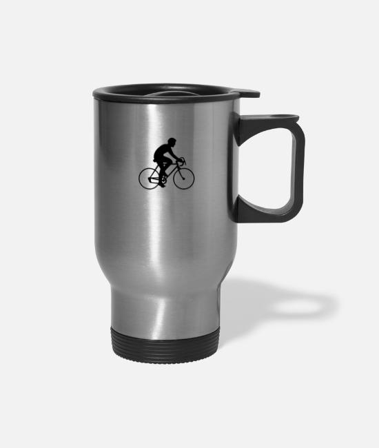 Cyclist Mugs & Drinkware - Cyclist Silhouette - Travel Mug silver