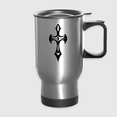 Cross, Crucifix, with gemstone and thorns. - Travel Mug
