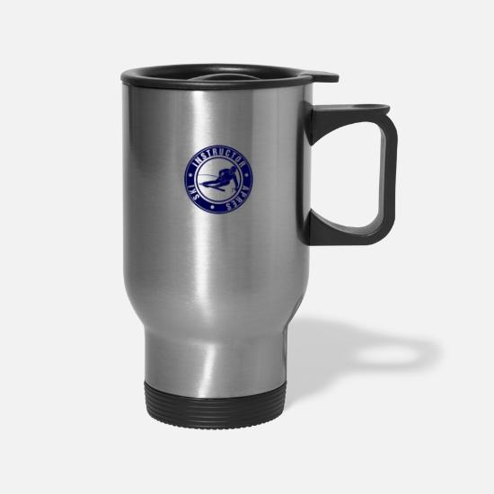 Instructor Mugs & Drinkware - Ski Instructor - Travel Mug silver