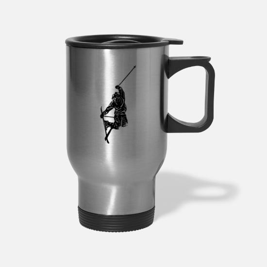 Ski Hut Mugs & Drinkware - Skiers on the ski slopes in a sporty and fast way - Travel Mug silver