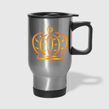 Golden crown monarch king vip logo vector image - Travel Mug