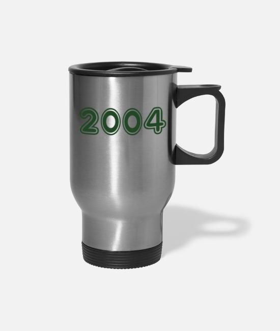 Birth Year Mugs & Cups - 2004, Numbers, Year, Year Of Birth - Travel Mug silver