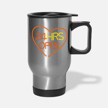 Slogan neon sign heart - Travel Mug