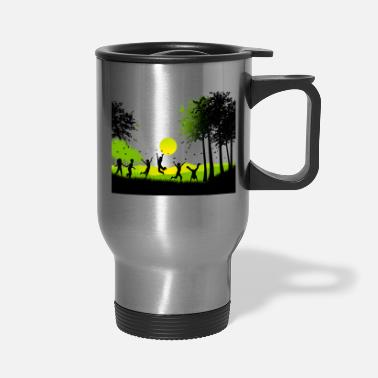 Happy Childrens Day Happy children nature butterfly tree vector image - Travel Mug