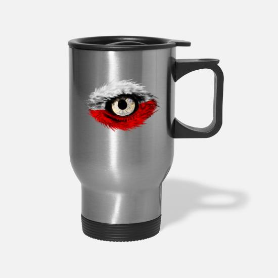 Polska Mugs & Drinkware - Polska Polish Patriot T-Shirts - Travel Mug silver