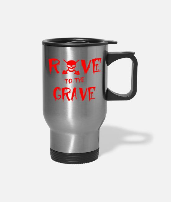 Raven Mugs & Drinkware - rave to the grave - Travel Mug silver