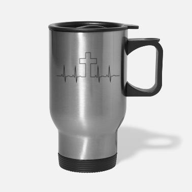 Religion Cross EKG - Travel Mug
