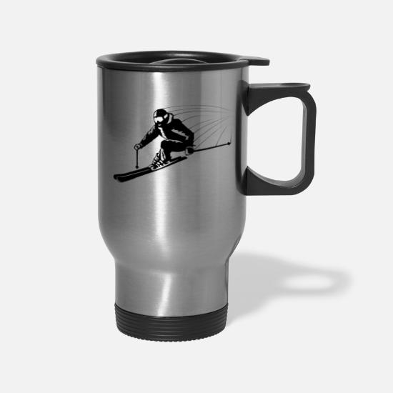Ski Mugs & Drinkware - Skiers on the ski slopes in a sporty and fast way - Travel Mug silver
