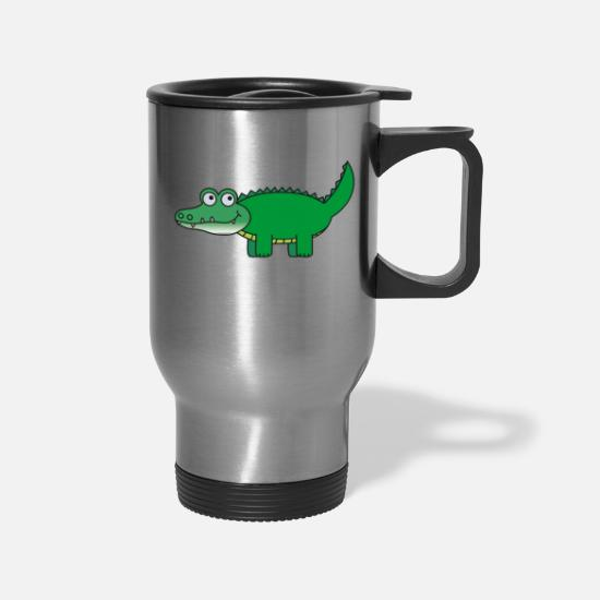 Alligator Mugs & Drinkware - Green Carton Aligator - gift idea - Travel Mug silver